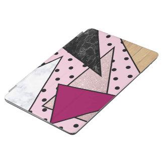 Capa Para iPad Air Madeira cor-de-rosa geométrica elegante do mármore