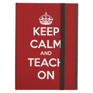 Capa Para iPad Air Mantenha a calma e ensine-a na caixa vermelha do i