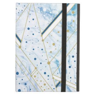 Capa Para iPad Air marmorear azul & ouro pontilham o caso do ipad da