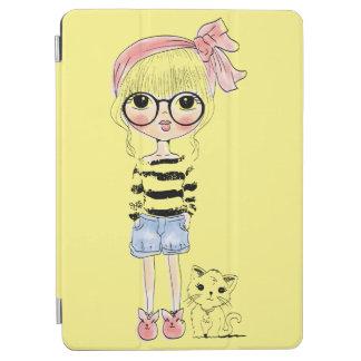 Capa Para iPad Air Menina bonito com vidros redondos e seu gato doce