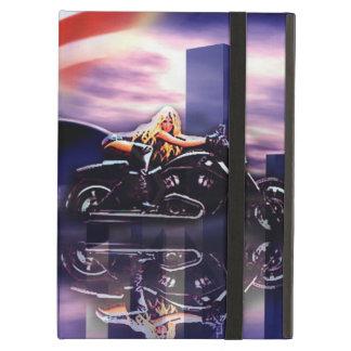 Capa Para iPad Air Menina do motociclista na motocicleta de Harley