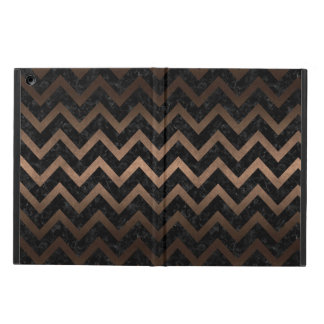 CAPA PARA iPad AIR METAL PRETO DO MÁRMORE CHEVRON9 & DO BRONZE