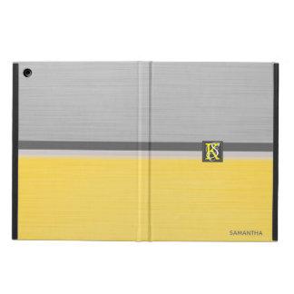 Capa Para iPad Air Monograma amarelo e cinzento do tom dois simples