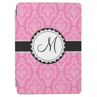 Capa Para iPad Air Monograma branco preto cor-de-rosa elegante da cor