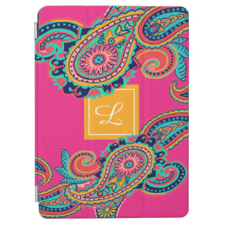 Capa Para iPad Air Monograma brilhante de Paisley do rosa de