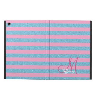Capa Para iPad Air Monograma das listras do brilho do aqua do rosa e