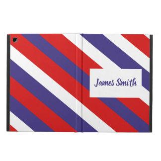 Capa Para iPad Air Monograma diagonal branco e azul vermelho da