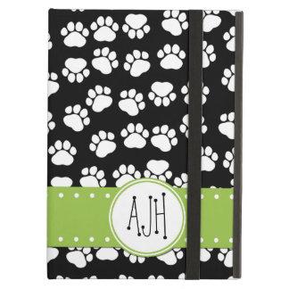 Capa Para iPad Air Monograma - patas do cão, Pata-impressões - preto