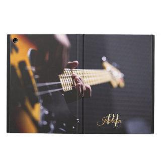 Capa Para iPad Air Monograma preto e alaranjado da guitarra elétrica