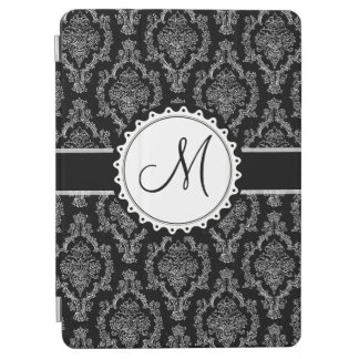 Capa Para iPad Air Monograma preto e branco elegante da cor damasco