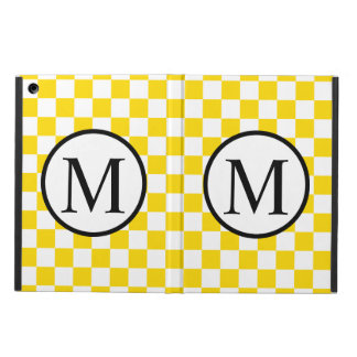 Capa Para iPad Air Monograma simples com tabuleiro de damas amarelo