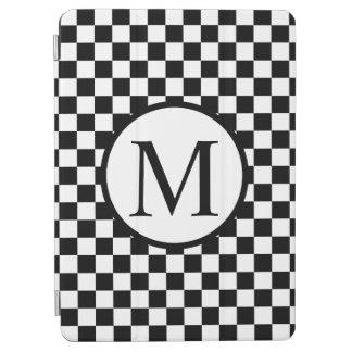 Capa Para iPad Air Monograma simples com tabuleiro de damas preto