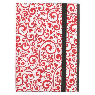 Capa Para iPad Air Namorados - corações vermelhos e redemoinhos sem
