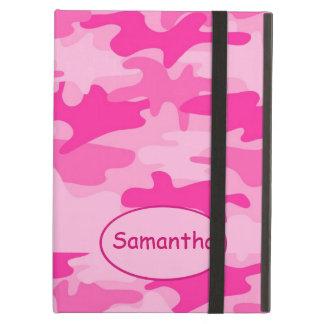 Capa Para iPad Air Nome fúcsia cor-de-rosa da camuflagem de Camo pers