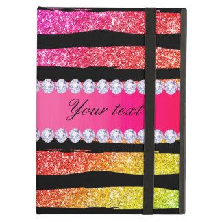 Capa Para iPad Air O brilho de néon do arco-íris do falso listra o