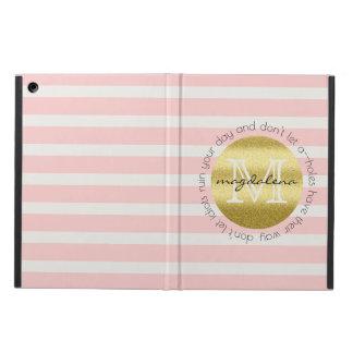 Capa Para iPad Air O brilho na moda do ouro do monograma cora listras