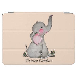 Capa Para iPad Air O elefante bonito do bebê da aguarela com cora &