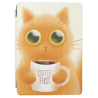 Capa Para iPad Air O gatinho bonito pintado mão com café coloca