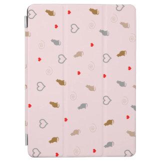 Capa Para iPad Air O gato feminino bonito e o coração modelam o rosa