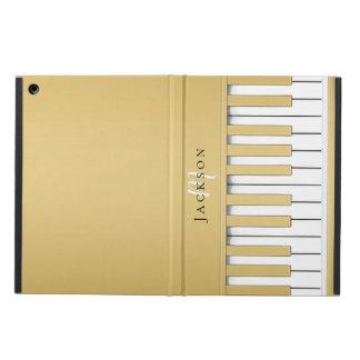 Capa Para iPad Air O piano dourado fecha o caso do iPad do monograma