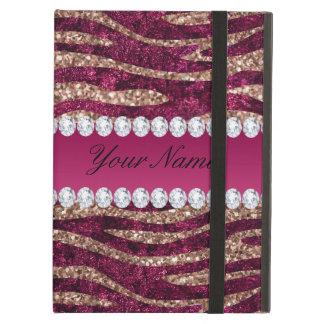 Capa Para iPad Air Ouro cor-de-rosa das listras da zebra da folha do