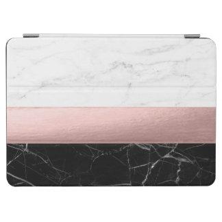 Capa Para iPad Air ouro cor-de-rosa do mármore branco preto claro