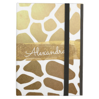 Capa Para iPad Air Ouro e impressão animal branco com brilho do ouro