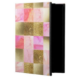 Capa Para iPad Air ouro, pastels, cores de água, quadrados, colagem,