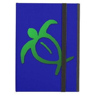 Capa Para iPad Air Petroglyph havaiano de Honu no azul
