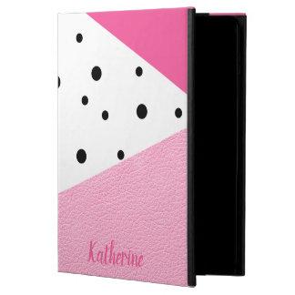 Capa Para iPad Air Pontos pretos de couro cor-de-rosa geométricos