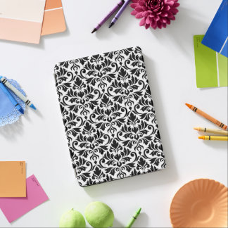 Capa Para iPad Air Preto da cor damasco do Flourish no branco