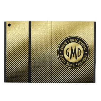Capa Para iPad Air Preto do brilho do ouro do monograma das bolinhas
