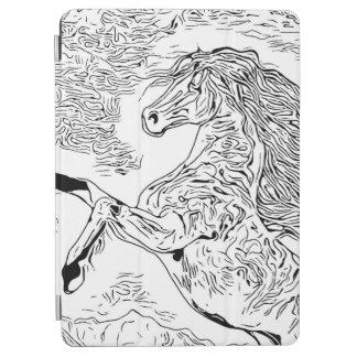 Capa Para iPad Air Preto e branco manchado de tinta - cavalo