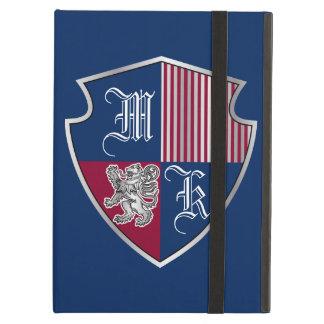 Capa Para iPad Air Protetor do leão da prata do emblema do monograma