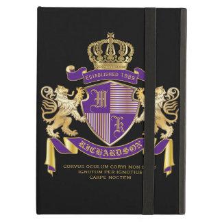 Capa Para iPad Air Protetor dourado do leão do emblema do monograma