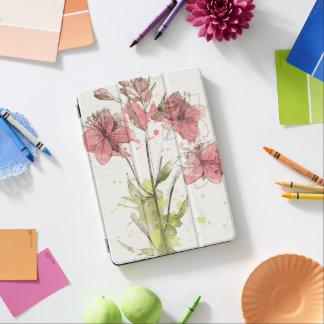 Capa Para iPad Air Respingo cor-de-rosa escuro floral