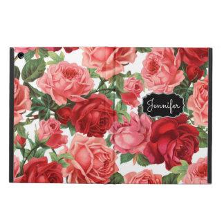 Capa Para iPad Air Rosa elegante chique do vintage, vermelho, nome