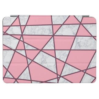 Capa Para iPad Air rosa pastel e vermelho de mármore brancos