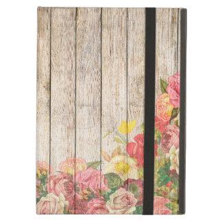 Capa Para iPad Air Rosas românticos rústicos do vintage de madeira