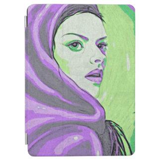 Capa Para iPad Air roxo do woodblock da senhora