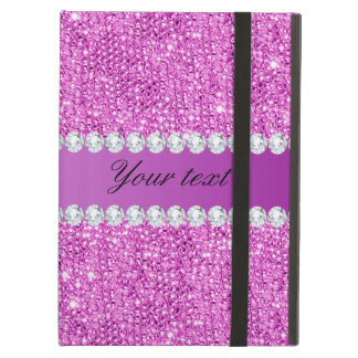 Capa Para iPad Air Sequins roxos chiques e diamantes do falso