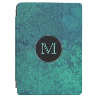 Capa Para iPad Air Shimmer chique do verde azul do monograma da