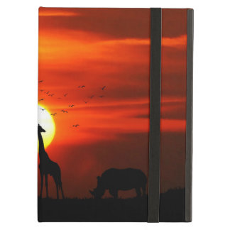 Capa Para iPad Air Silhuetas africanas do animal do por do sol do