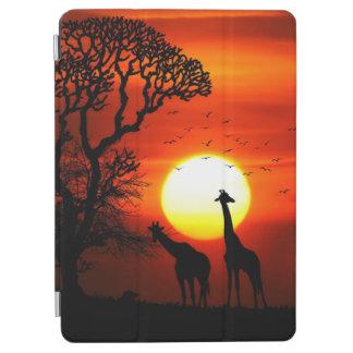 Capa Para iPad Air Silhuetas africanas do girafa do por do sol do
