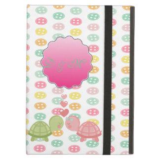 Capa Para iPad Air Tartarugas adoráveis no amor em botões coloridos