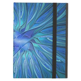 Capa Para iPad Air Teste padrão azul da fantasia da flor, arte
