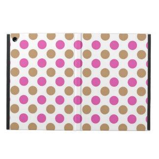 Capa Para iPad Air Teste padrão de bolinhas cor-de-rosa e marrom