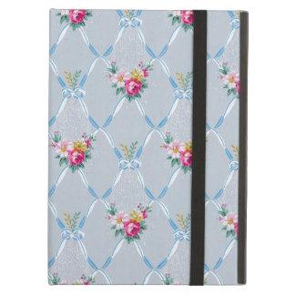 Capa Para iPad Air Teste padrão floral do rosa bonito azul feminino