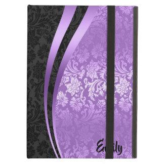 Capa Para iPad Air Teste padrão floral preto & roxo geométrico dos