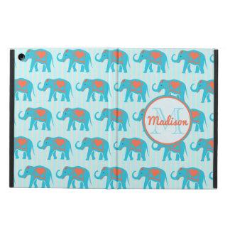Capa Para iPad Air Turquesa da cerceta, elefantes azuis, nome das